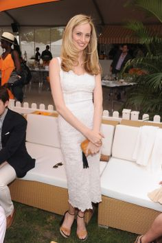 Lauren Santo Domingo // White DOLCE & GABBANA Dress | Camel and Black LANVIN Sandals