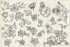 214 Retro Flowers by FineScrap on Creative Market