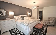 Dark Gray Accent Wall - So beautiful and elegant. Definitely going to do this at my new apartment.
