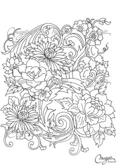 Masjas Flowers Coloring Page 1 By MasjasArtwork On Etsy