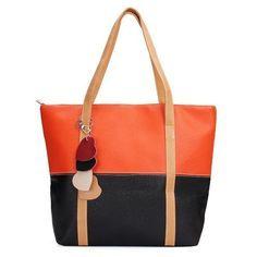 Candy Color Patchwork Pendant Shoulder Bag