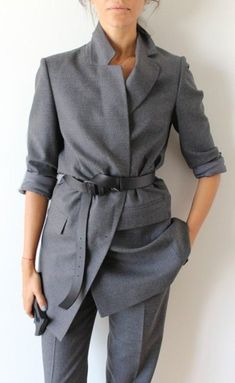 $150 All Grey Everything Monochrome Grey Pant Suit Two Piece Co Ord Marl Grey Jacket With Silk Belt Tie