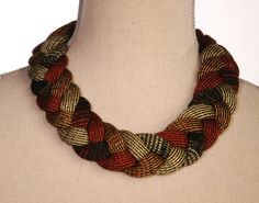 Statement  Braided Necklace Textile Jewellery by murraynagKnit, £25.00