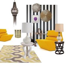 Black and yellow modern+ classic, Cecilie Løvik Sveen Mustard Yellow, Black N Yellow, Modern Classic, Her Style, Hue, Chandelier, Design Boards, Ceiling Lights, Room