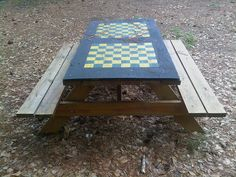 All bench tables should have a game board painted on them inviting us to play Painted Picnic Tables, Diy Picnic Table, Diy Table, Board Game Table, Table Games, Board Games, Painted Boards, Painted Floors, Outdoor Projects