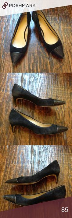 Ann Taylor Kitten Heels Black leather kitten heels. Has some signs of wear. A little bit on the tips of the toes and one mark on the left heel. Right shoe is missing the black part of the heel at the bottom. Ann Taylor Shoes Heels