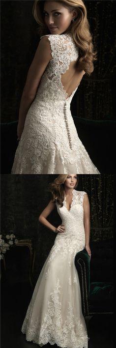European And American Wedding V Neck Tail Back Zipper Wedding Dress