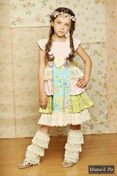 Mustard Pie ~ Delphine Tea Party Dress (Multi)