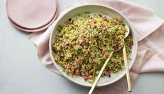 Pomegranate and parsley tabbouleh A fresh and vibrant couscous salad will bring a bit of zing to you Couscous Salad Recipes, Tabbouleh Recipe, Nadiya Hussain Rezepte, Healthy Dinner Recipes, Cooking Recipes, Savoury Recipes, Vegetarian Cooking, Cooking Ideas, Cooking Time