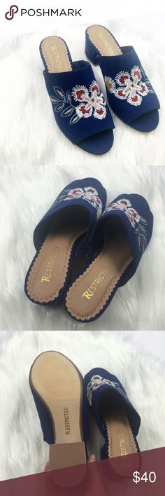 New Navy Embroidered Open Toe Mules Brand new and never worn. Faux suede. Navy. Floral embroidery. Open toe. Size 7.5. No trades!! 081217100mr Restricted Shoes Mules & Clogs