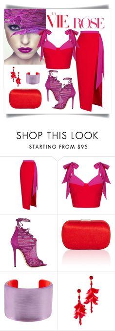 """Rasario Strap Tie Bustier Top & Skirt"" by romaboots-1 ❤ liked on Polyvore featuring Rasario, Jimmy Choo, Corto Moltedo, Alexis Bittar and Oscar de la Renta"