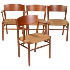 Set of Four Børge Mogensen Seagrass Dining Chairs | From a unique collection of antique and modern dining room chairs at https://www.1stdibs.com/furniture/seating/dining-room-chairs/
