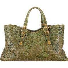 Pre-owned Bottega Veneta Intrecciato Cabat Tote found on Polyvore featuring bags, handbags, tote bags, borse, green, brown leather purse, genuine leather tote, brown tote bag, leather hand bags and handbags totes