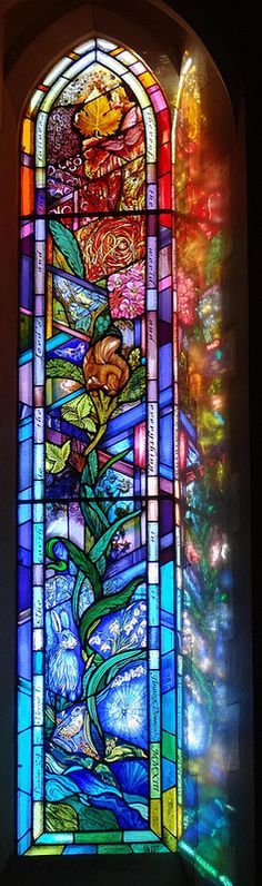 """All Saints Church, Denmead Hampshire UK 2013 -Jude Tarrant of Sunrise Stained Glass Ltd, Hampshire. Iillustrates Psalm 24:1 """"The earth is the Lord's, and the fullness thereof; the world and everything in it"""". A celebration of the beauty of the natural world."""""""