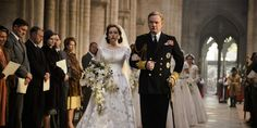 Iconic outfits from the acclaimed series, including Queen Elizabeth's coronation robe and Princess Margaret's wedding dress, are on view. Queen Elizabeth Wedding, Princess Margaret Wedding, Princess Elizabeth, Queen Elizabeth Ii, Princess Diana, Bouquet En Cascade, Crown Netflix, Lady Diana Spencer, Bridesmaid Dresses