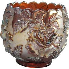 Vintage Fenton Carnival Glass Bowl - Wreath of Roses