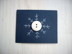 5 Snowflake Christmas Cards Set: 5 Cards, Mini Christmas Cards, Blank, Button Snowflakes, Holiday, Gift Tags - Set of 5. $8.00, via Etsy.