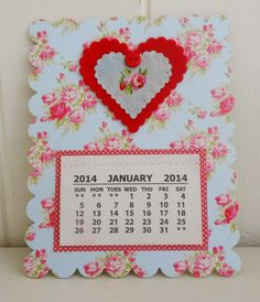 Shabby Chic Magnetic Calendar by picocrafts on Etsy, $5.00