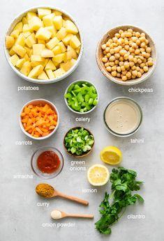 Vegetarian Curry, Vegetarian Recipes Dinner, Gf Recipes, Indian Food Recipes, Vegan Potato Salads, Carrot Greens, Vegan Lunches, Mediterranean Diet Recipes, Vegan Mayo