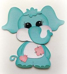 Paper Elephant, Paper Animals, Paper Die Cuts, Baby Buddies Blue Elephant, Premade Paper Piecing Animal By My Tear Bear Kira Paper Bag Scrapbook, Baby Scrapbook, Foam Crafts, Diy And Crafts, Paper Crafts, Baby Cards, Kids Cards, How To Make A Paper Bag, Paper Animals