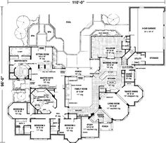 European Style House Plans - 4958 Square Foot Home , 1 Story, 4 Bedroom and 3 Bath, 3 Garage Stalls by Monster House Plans - Plan 58-110
