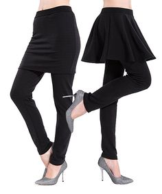 Black Faux Fur-Lined Skirted Leggings Set by Ace Fashions #zulily #zulilyfinds