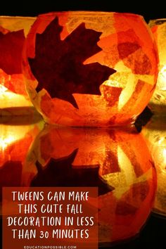 This may be a simple and frugal DIY craft, but kids of all ages will love creating these beautiful fall luminaries to decorate your home for fall. They will take your tween less than 30 minutes to make one. This step-by-step tutorial walks you through how to turn a plain jar or globe into a gorgeous autumn decor piece. It's one of my favorite craft decorations that my kids made - I still put them out years later. They're so pretty at night. What's your favorite fall craft for tweens?