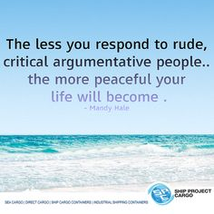 The less you respond to rude, Critical argumentative people.The more peaceful your life will become. Cargo Container, Interesting Quotes, Your Life, Peace, Personalized Items, Sobriety, World