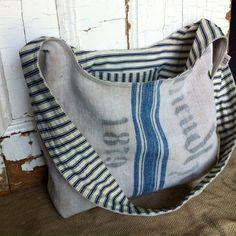 1879 reconstructed vintage linen grain sack sling bag by yahbag