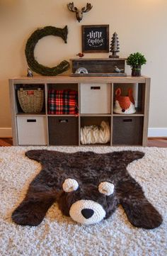 Bear rug woodland room decor. By ClaraLoo Crochet Bows, Crochet Fabric, Bedroom Ideas, Kids Bedroom, Bear Rug, Faux Fur Rug, Custom Rugs, Woodland Nursery, Baby Room Decor