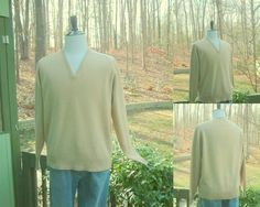 1970s Mens Cashmere V Neck Sweater from Varsity Men's Wear, Raleigh NC, Made in England by HiddenTreasureHunter on Etsy