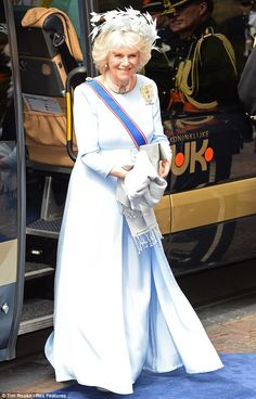 Style credentials: Camilla looked stunning in a powder blue gown at the inauguration of King Willem-Alexander of the Netherlands at Nieuwe Kerk
