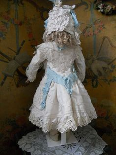 ~~~ Fantastic French White Pique Coat Dress with Bonnet ~~~ from whendreamscometrue on Ruby Lane