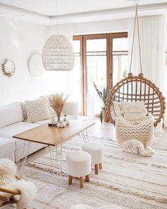 Living Room Decor Cozy, Boho Living Room, Home And Living, Bedroom Decor, Modern Living, Relaxing Living Rooms, Living Room Hammock, Boho Room, Living Area