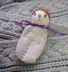 Lavender Filled Sachet Handmade Sock Doll OOAK White w Blond Hat Brown Eyes #Pedricks
