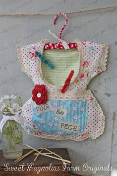 """Clothespin Bag Vintage Style Dress - """"Pins & Pegs"""" Crochet Lace, Shabby, Country, Cottage, Farmhouse Chic $36.50"""