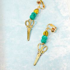 Scissor earrings clip or pierced crystals dangle handmade by Pat2 by RememberThis3 on Etsy