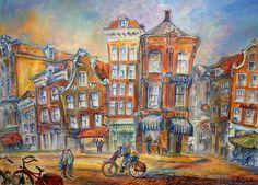 Rembrandt Square Amsterdam - huile sur toile - Elena Polyakova (21ste eeuw)