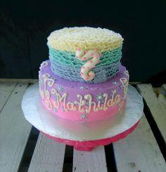 frozen girl birthday cake hombre ruffle pink purple aqua blue - www.facebook.com/blovestobake