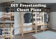 DIY Freestanding Closet Plans - You can go to any local store and buy your self a storage shelf but these do not fit the space you need and are cheaply made. If your home has limited closet space, then there are many options that you can consider. Small Closet Space, Small Closets, Wood Closet Shelves, Closet Racks, Closet Bed, Stand Alone Closet, Free Standing Wardrobe, Diy Closet System, Free Standing Shelves
