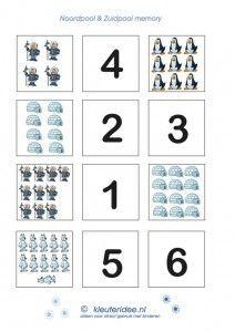 Tel memory 1 , kleuteridee.nl, thema Noordpool en Zuidpool, counting memory for preschool 1, free printable.