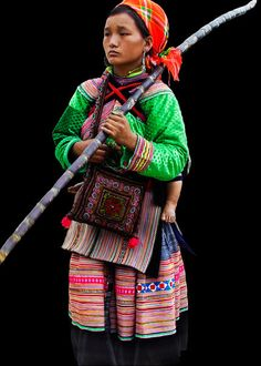 Hill Tribe Lady in traditional clothing in Bacha, Vietnam