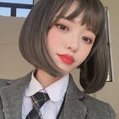 Korean Girl Ulzzang, Pelo Ulzzang, Ulzzang Short Hair, Korean Short Hair, Ulzzang Hairstyle, Pretty Korean Girls, Cute Korean Girl, Asian Girl, Mode Kawaii