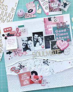 Valentine's Day Layout - Crate Paper All Heart Crate Paper, Studio Calico, Drake, No Bad Days, All Heart, Lucky Star, Love, Scrapbook, Layouts