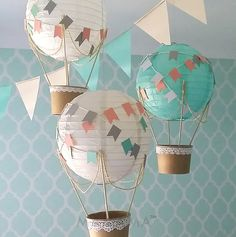 Whimsical Hot Air Balloon Decoration DIY kit - nursery decor - travel theme nursery - GREY, MINT & white - set of 3 by mamamaonline on Etsy https://www.etsy.com/listing/264622620/whimsical-hot-air-balloon-decoration-diy