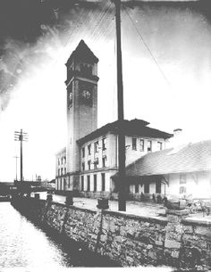 Great Northern railroad came to spokane in 1892. The depot built on Havermale Island in the Spokane River was completed in 1902.