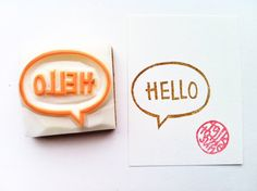 hello hand carved rubber stamp. hand carved stamp. by talktothesun, $16.00