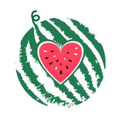 Vector watermelon isolated on white background. Summer fruit whole and sliced. Slice shape of red heart with black seeds. Icon and logo design. Watermelon Art, Watermelon Carving, Wallpaper Kawaii, Watermelon Wallpaper, Watermelon Illustration, Fruit Logo, One In A Melon, Summer Fruit, Kids Prints