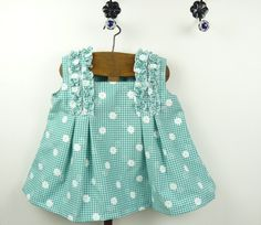 Baby pinafore green and white checkered with flowers,ready to ship, original vintage inspired, retro baby girl dress for 1 year old baby. by BarbaraEtsyShop on Etsy