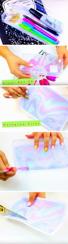 Holographic Pencil Box   DIY Tumblr Inspired School Supplies for Teens you need to try!
